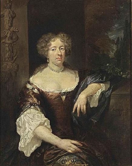 caspar netscher Portrait of a Lady oil painting picture