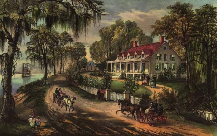 Currier and Ives A Home on the Mississippi oil painting picture