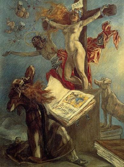 Felicien Rops La tentation de Saint Antoine oil painting picture