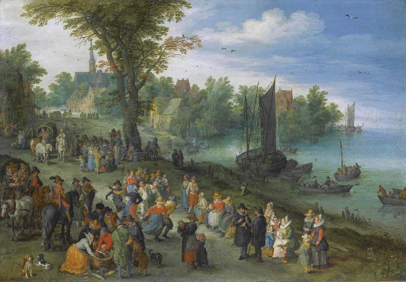 Jan Brueghel People dancing on a river bank oil painting picture