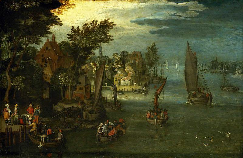Jan Brueghel A Busy River Scene with Dutch Vessels and a Ferry oil painting picture