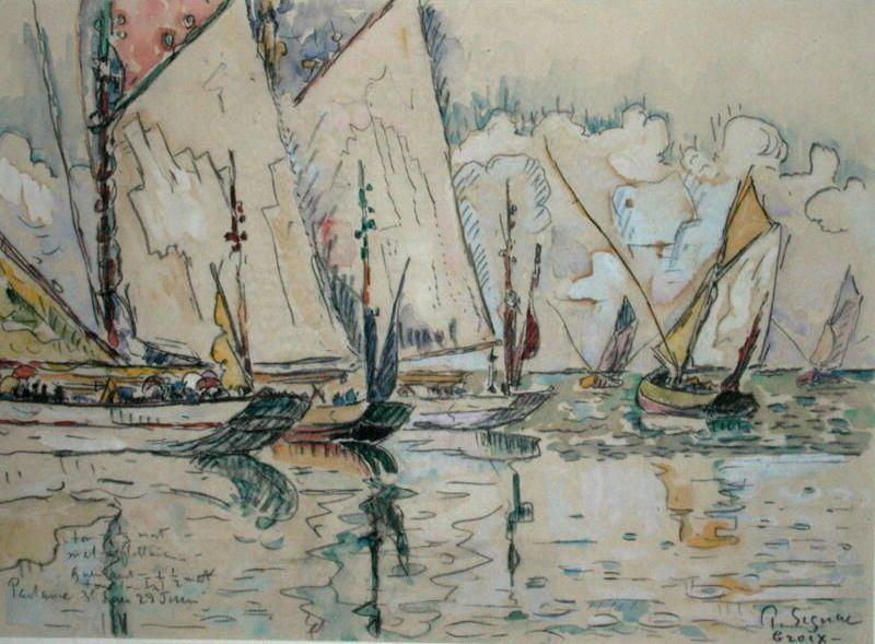 Paul Signac Departure of Three-Masted Boats at Croix-de-Vie oil painting picture