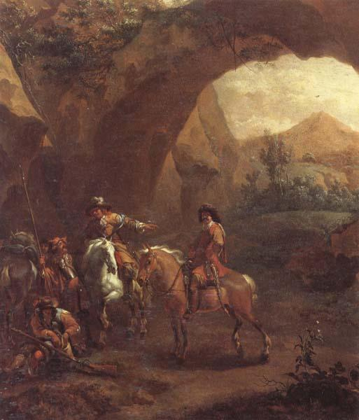 Adam Colonia Landscape with troopers and soldiers beneath a rocky arch