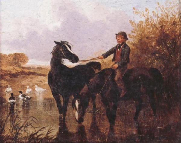 John Frederick Herring Watering The Horses and Farmyard Companions:a Pair of Paintings China oil painting art