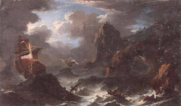 unknow artist A coastal landscape with shipping in a storm,figures shipwrecked in the foreground oil painting picture