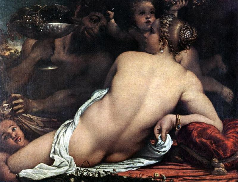 CARRACCI, Annibale Venus with a Satyr and Cupids oil painting picture