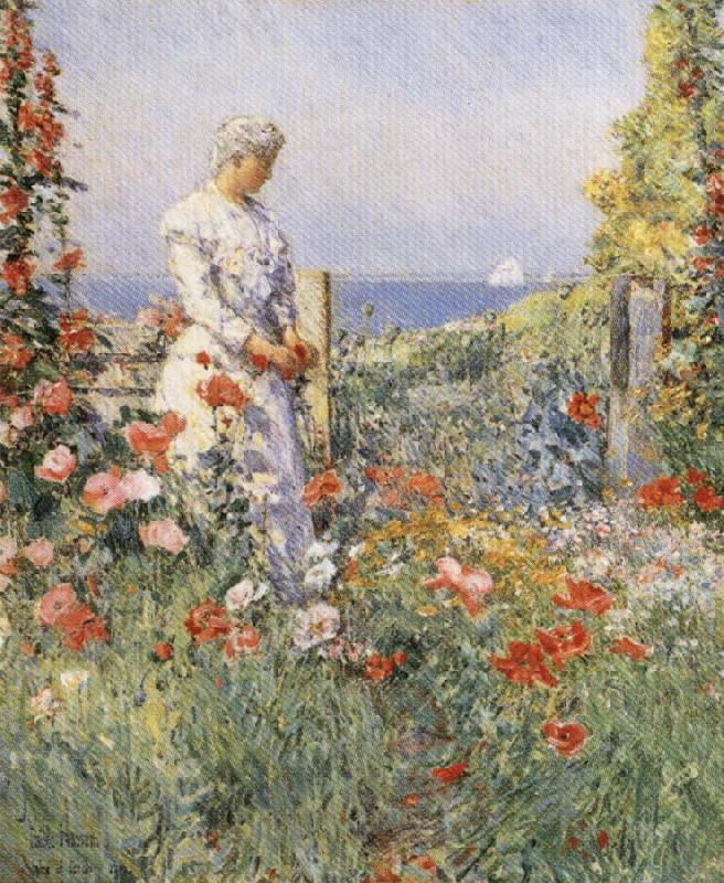 Childe Hassam In the Garden:Celia Thaxter in Her Garden China oil painting art