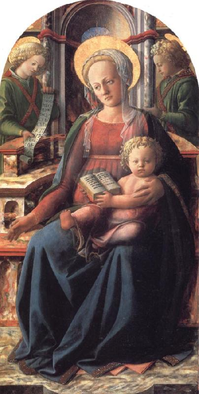 Fra Filippo Lippi Madonna and Child Enthroned with Two Angels oil painting picture