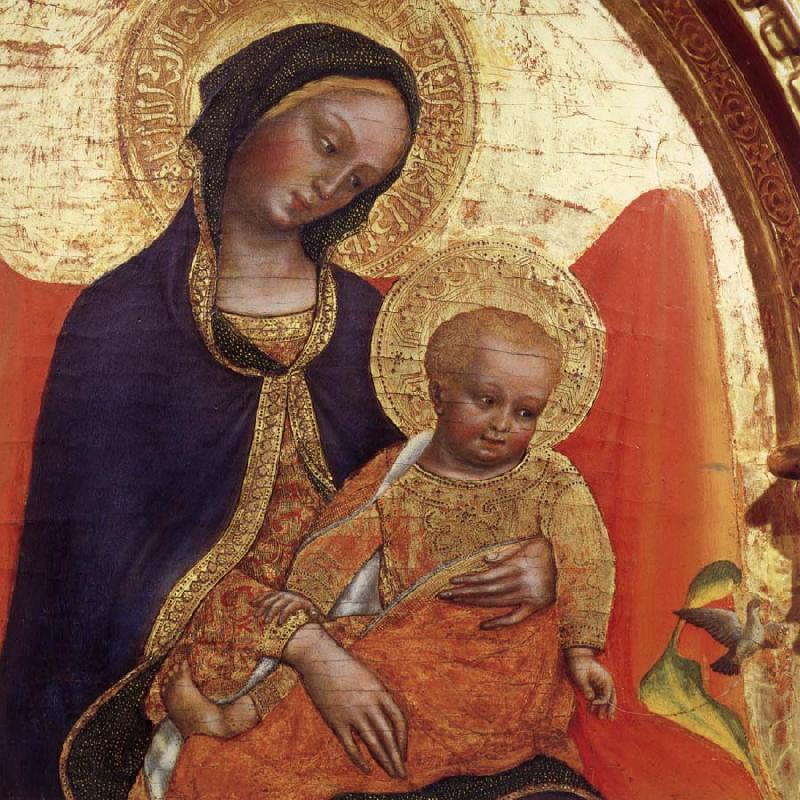 Gentile da  Fabriano Details of Madonna and child,with sts.lawrence and julian