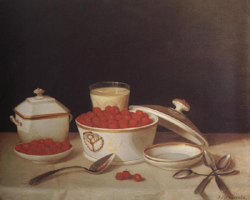 John F.Francis Strawberries,Cream,and Sugar oil painting picture
