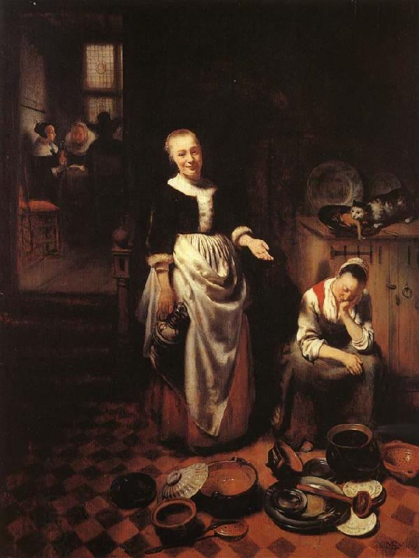 MAES, Nicolaes Interior with a Sleeping Maid and Her Mistress