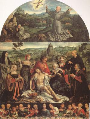 CLEVE, Joos van The Lamentation of Christ with the Last Supper(predella) and Francis Receiving the Stigmata(mk05)