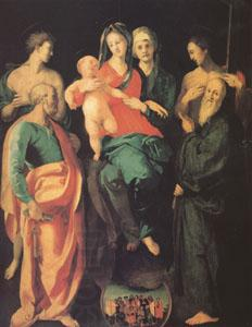 Jacopo Pontormo The Virgin and Child with Four Saints and the Good Thief with (mk05)