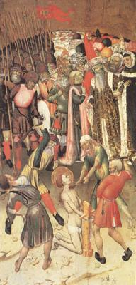 MARTORELL, Bernat (Bernardo) Two Scenes from the Legend of ST.George The Flagellation The Saint Dragged through the City (mk05) oil painting picture