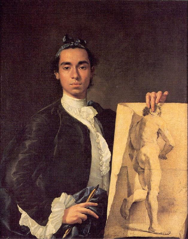 Melendez, Luis Eugenio Portrait of the Artist Holding a Life Study