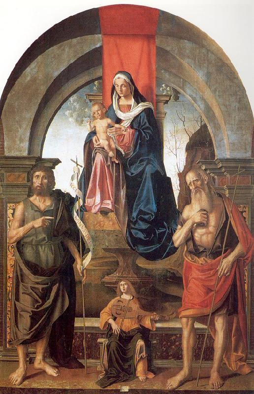 Palmezzano, Marco Virgin and Child Enthroned between Saints John the Baptist and Jerome