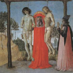 Pietro Perugino st Jerome supporting Two Men on the Gallows oil painting picture