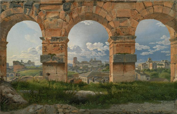 Christoffer Wilhelm Eckersberg View through three northwest arches of the Colosseum in Rome.Storm gathering over the city (mk09) oil painting picture