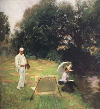 John Singer Sargent Dennis Miller Bunker Painting at Calcot (mk18) oil painting picture
