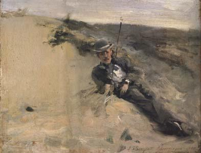 John Singer Sargent Portrait of Ralph Curtis on the Beach at Scheveningen (mk18)