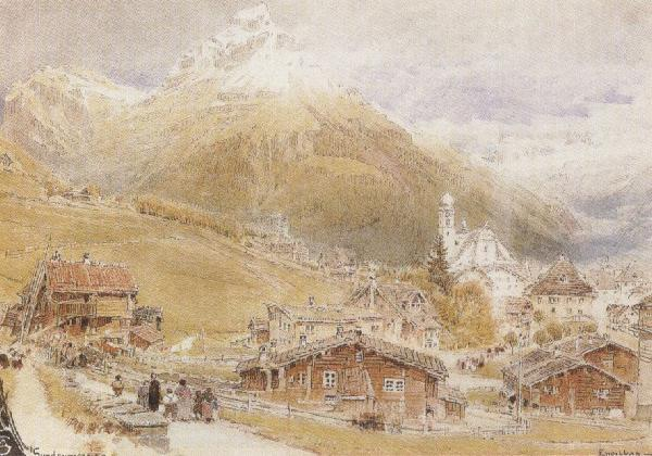 Albert goodwin,r.w.s A Sunday Morning in Engelberg,Switzerland (mk37) oil painting picture