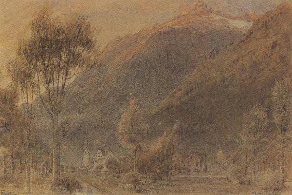 Albert goodwin,r.w.s The Town of Fluelen,Switzerland (mk37) oil painting picture