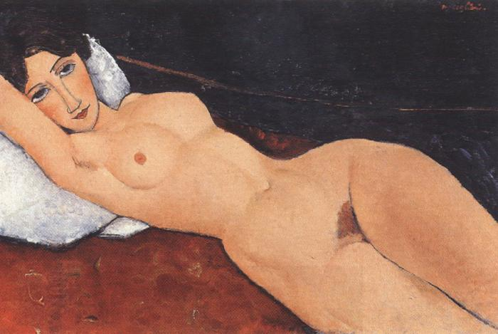 Amedeo Modigliani Reclining Nude on a Red Couch (mk39) oil painting picture