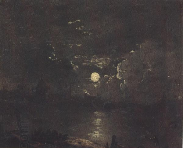 Attributed to henry pether The City of London from the Thames by Moonlight (mk37) oil painting picture