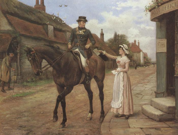 George goodwin kilburne Collecting the Post (mk37)