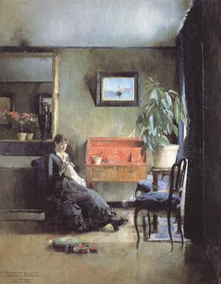 Harriet Backer Blue Interior (nn02) oil painting picture