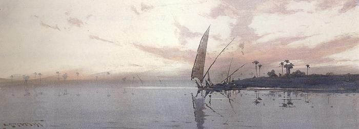 augustus osborne lamplough,r.w.s Feluccas on the Nile at dawn and Feluccas on the Nile at Dusk (mk37) China oil painting art